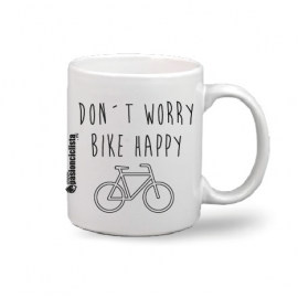 "Taza ""Don´t worry, bike happy"""